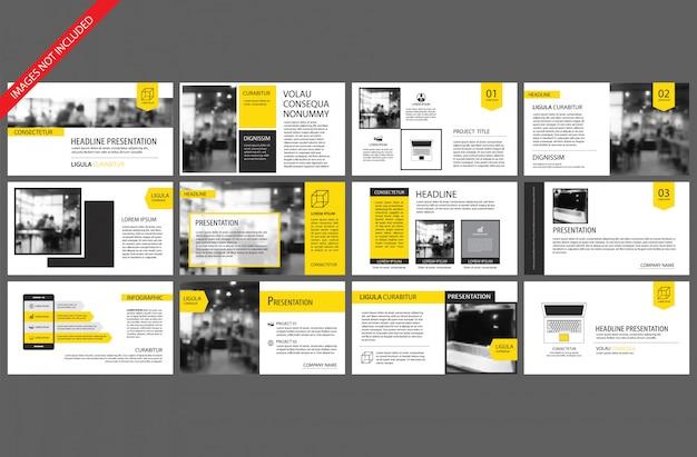 バックグラウンドのスライドインフォグラフィックの黄色要素。 Premiumベクター