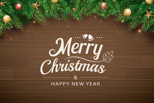 クリスマスの挨拶カード、茶色の木製の枝 Premiumベクター