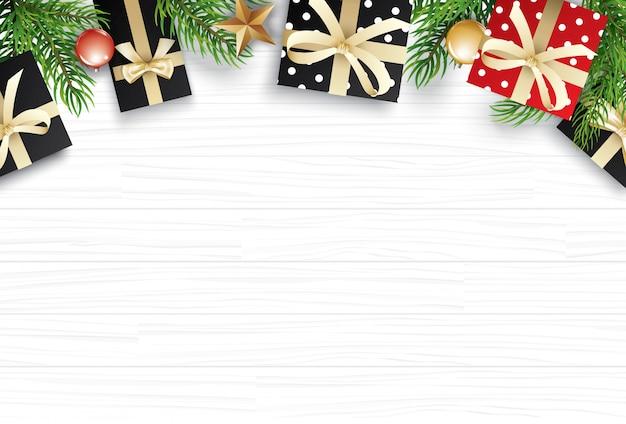白い木製のテキストのためのコピースペースを持つクリスマス Premiumベクター