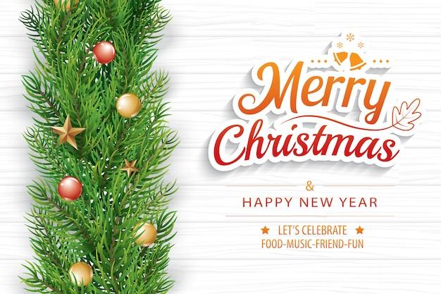 白い木の上にモミの枝とクリスマスの挨拶カード Premiumベクター