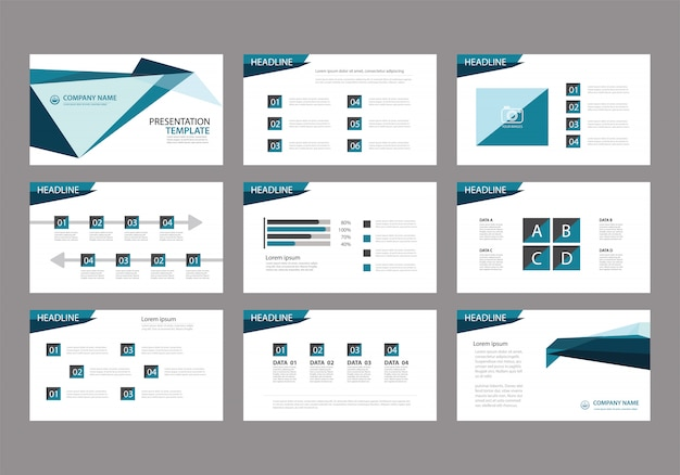 Синий шаблон для слайд-презентации на фоне. Premium векторы