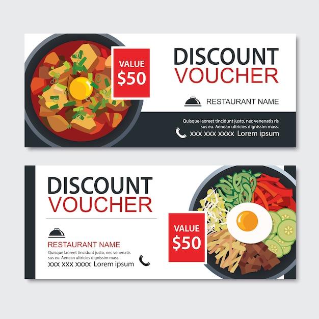 ギフト券アジア料理テンプレートデザインを割引します。 Premiumベクター