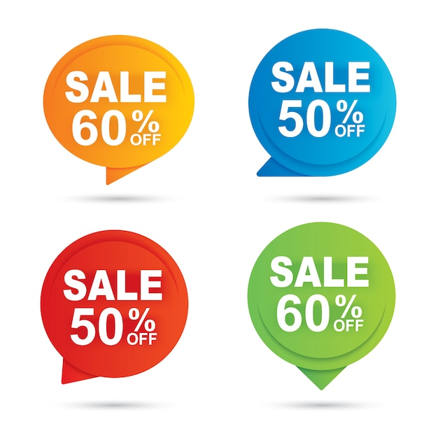 販売サークルバナーマルチカラーペーパーの抽象的な背景 Premiumベクター