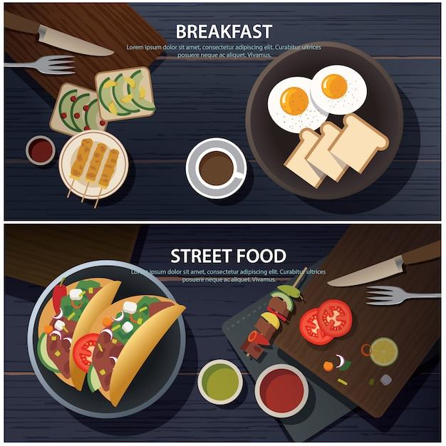 朝食と屋台の食べ物のバナー Premiumベクター