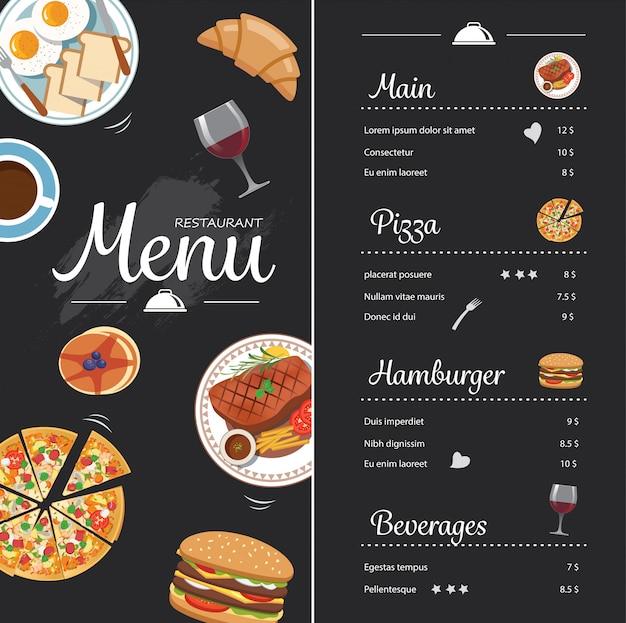 黒板とレストランフードメニューデザイン Premiumベクター