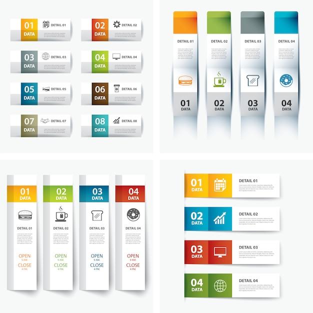 インフォグラフィックテンプレートのセット Premiumベクター