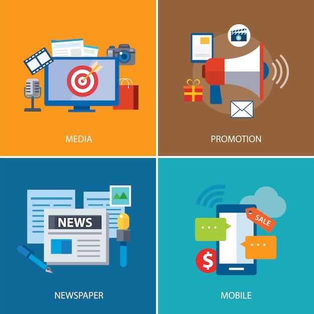 広告とプロモーションのフラットアイコンデザイン Premiumベクター