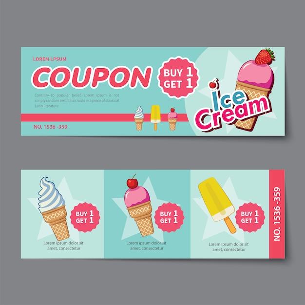 Купон мороженого со скидкой шаблон плоский дизайн Premium векторы
