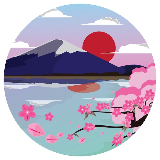 富士山とさくら Premiumベクター