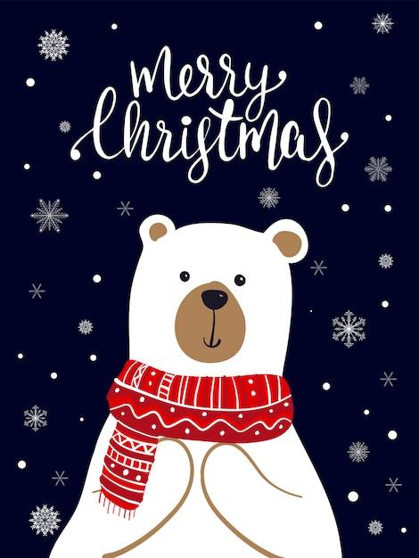 ポーラーベアスカーフ漫画、クリスマスフェスティバル Premiumベクター