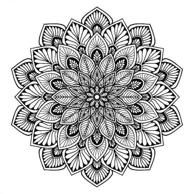マンダラ塗り絵、花の形、オリエンタル療法、ヨガのロゴベクトル。 Premiumベクター