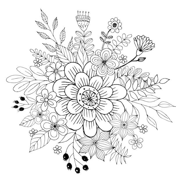 花と幸せなバレンタインデー落書き花束ぬりえブックスタイルベクトル。 Premiumベクター