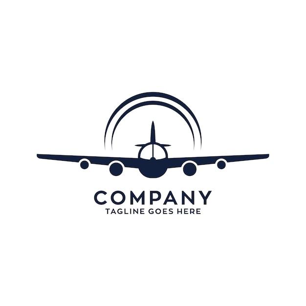 飛行機飛ぶロゴデザイン Premiumベクター