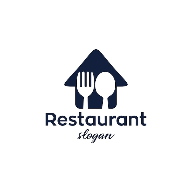 レストランモダンでシンプルなロゴデザイン Premiumベクター