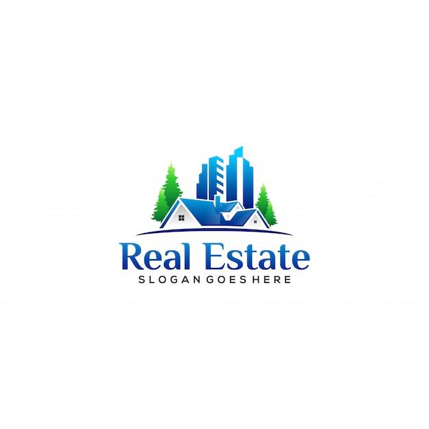 Реалистичный логотип жилья и недвижимости Premium векторы