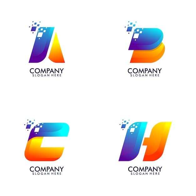 パック抽象文字ロゴ Premiumベクター