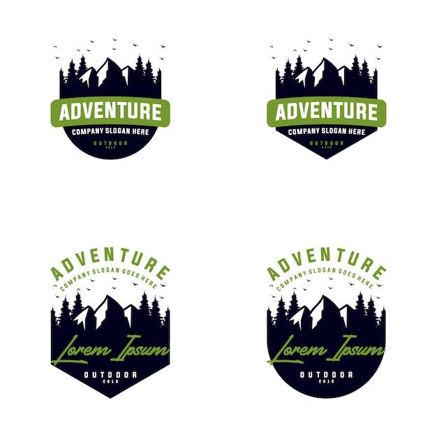 山の屋外ロゴデザインのコレクション Premiumベクター