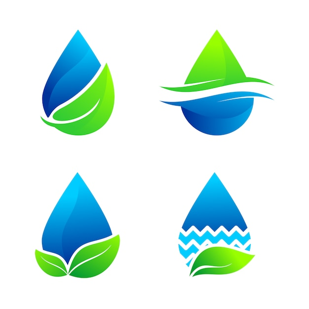 Набор воды природа логотип вектор Premium векторы
