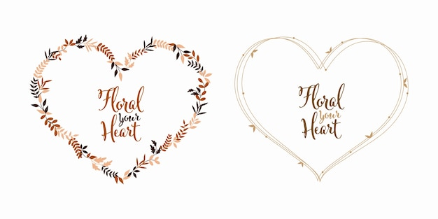 花の葉の心臓の形愛と自然のヴィンテージ色 Premiumベクター