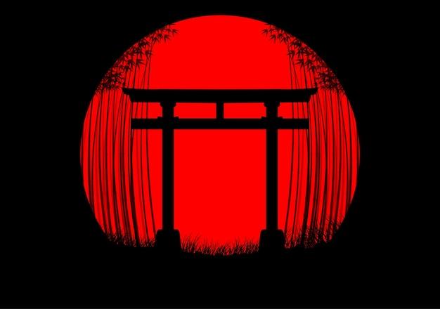 日本の日の出の竹の森の背景 Premiumベクター