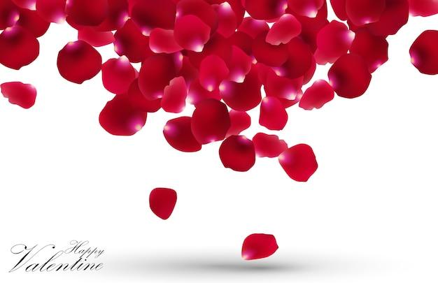 白い背景にバラの花びらとバレンタインデー Premiumベクター