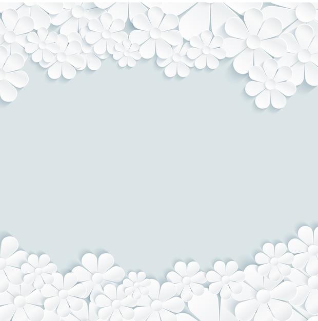 白いデイジー灰色の背景に花のパターン Premiumベクター