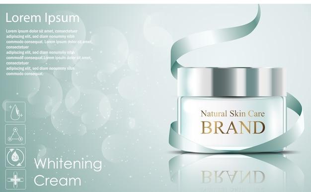 美しい現実的なハイドレーティングフェイシャルクリーム化粧品広告 Premiumベクター