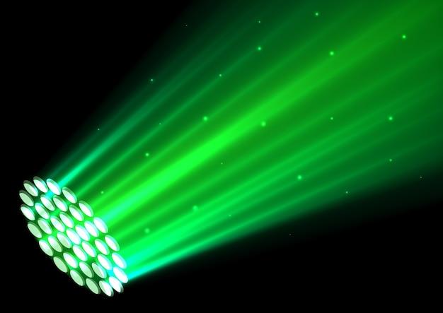 Зеленые прожекторы на темном фоне Premium векторы
