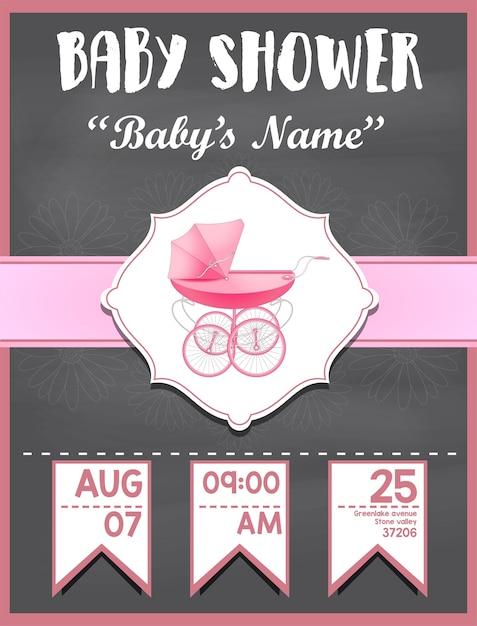 女の子の赤ちゃんのためのベビーシャワー招待カード Premiumベクター