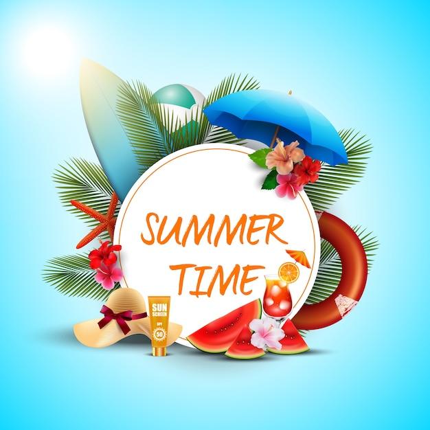 Дизайн летнего плаката с белыми круглыми и пляжными элементами Premium векторы
