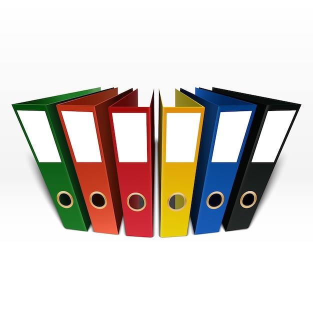 カラフルなボックスファイルのフォルダは、白い背景に Premiumベクター