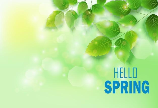 緑の草原に新鮮な緑の葉と春の背景 Premiumベクター