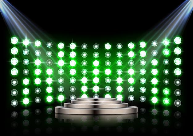 Подиум с прожекторами на темном фоне Premium векторы