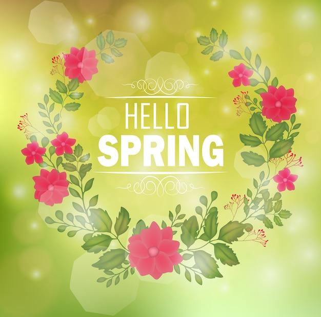 テキストハロー春とボケ背景の花のフレーム Premiumベクター