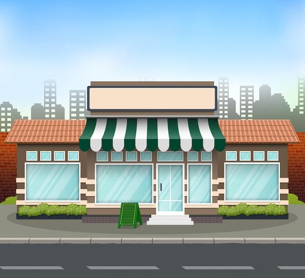 Фронтальный дизайн магазина спереди с местом для названия магазина Premium векторы