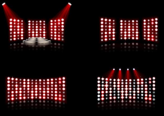 Набор яркого освещения стадиона арены Premium векторы