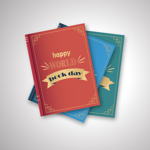 書籍、白い背景での幸せな世界の日のスタック Premiumベクター