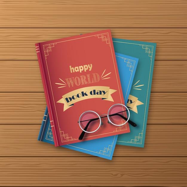 書籍、木製の背景に幸せな世界の日のスタック Premiumベクター