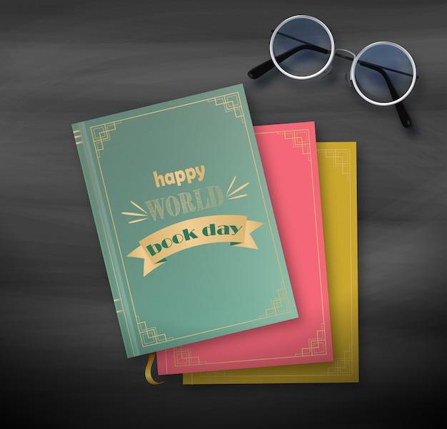 書籍、黒い背景に幸せな世界の日のスタック Premiumベクター