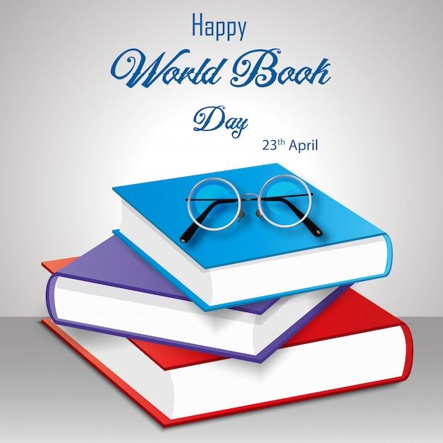 白い背景の上の本のスタックで幸せな世界本日 Premiumベクター