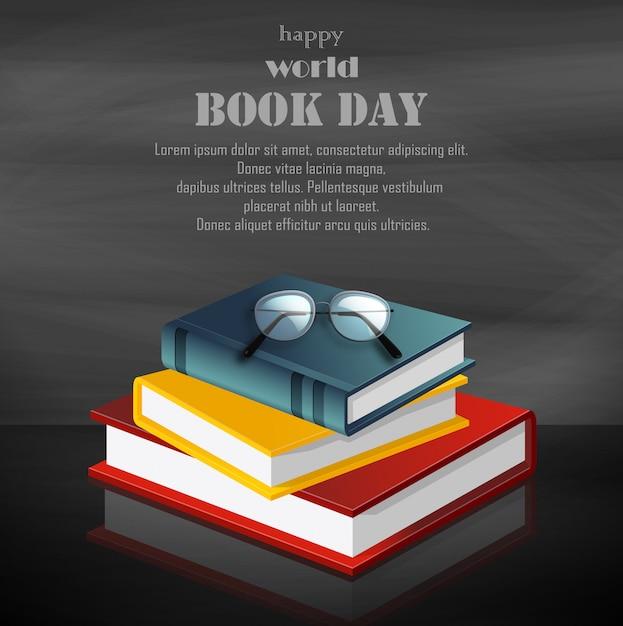 黒の背景に書籍のスタックで幸せな世界本日 Premiumベクター