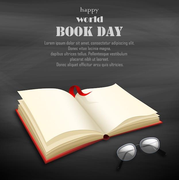 空白の本で幸せな世界本日 Premiumベクター