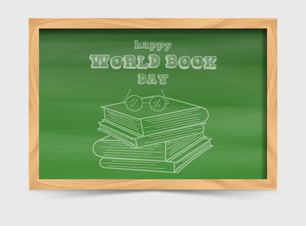 Концепция всемирного дня книги с доской и стопкой книг Premium векторы