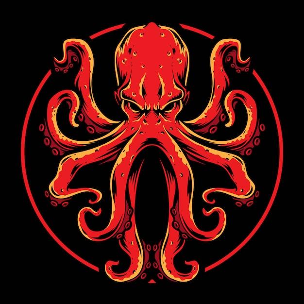 Красный осьминог вектор Premium векторы