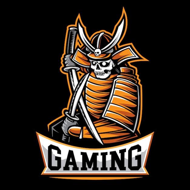 サムライゲームのロゴ Premiumベクター