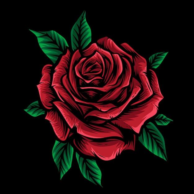 Красная роза вектор с листом Premium векторы