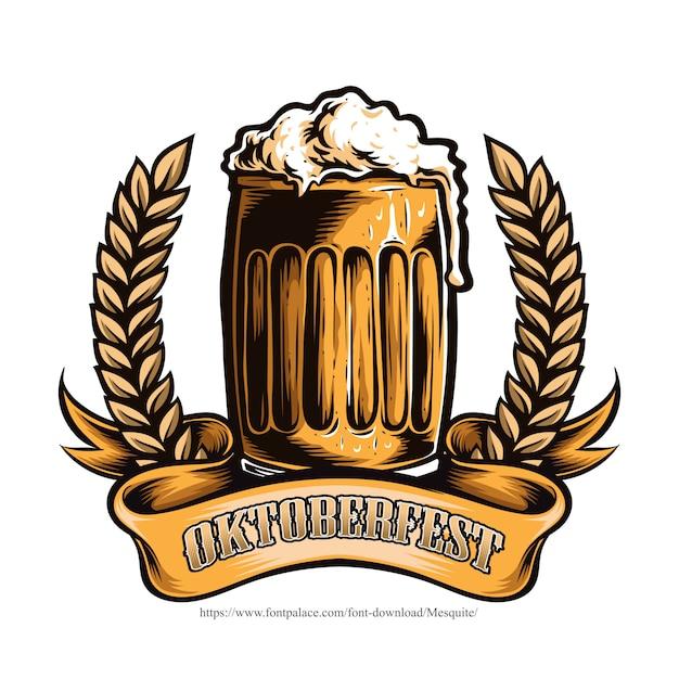 オクトーバーフェストビールのグラス Premiumベクター