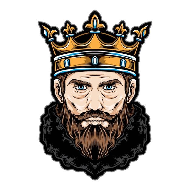 Король головы векторный логотип и значок Premium векторы