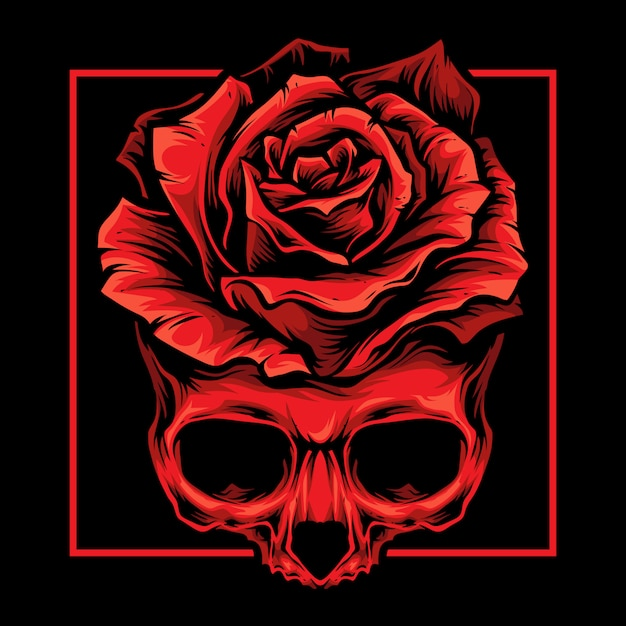 Логотип красных черепов роз Premium векторы
