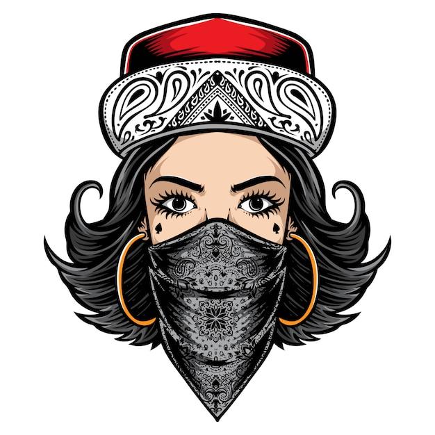 チカーノスタイルの女性のロゴ Premiumベクター